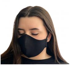 Daugkartinė 2-jų sluoksnių kaukė iš medvilnės, juoda su gumytėmis